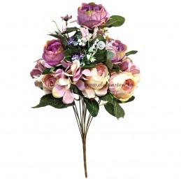 Buchet mix trandafiri mov si crem, 12 fire 50 cm