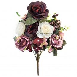Buchet mix trandafiri grena si albi, 13 fire 50 cm
