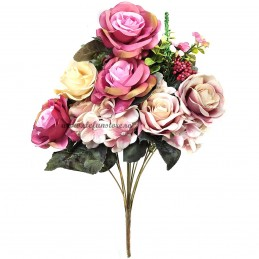 Buchet mix trandafiri roz si crem, 13 fire 50 cm
