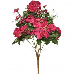 Buchet mix trandafiri fucsia, 12 fire 50 cm