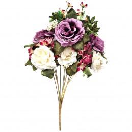 Buchet degrade, mix trandafiri lila si albi, 12 fire 50 cm