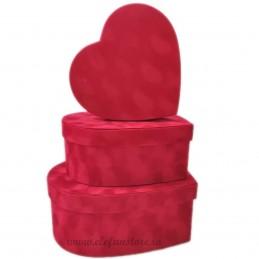 Set 3 cutii inima catifea rosii 30-26-21 cm
