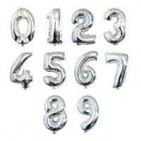 Baloane Cifre Argintii 40 cm