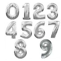 Baloane Cifre Argintii 100 cm