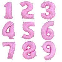 Baloane Cifre Roz cu Inimioare 40 cm