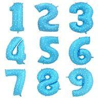 Baloane Cifre Albastre cu Stelute 40 cm