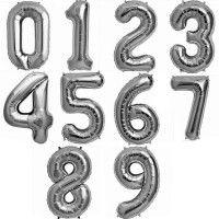 Baloane Cifre Argintii Slim 100 cm